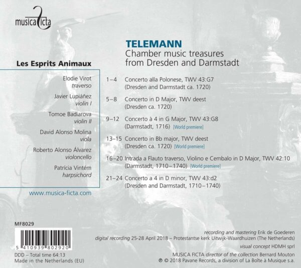 Georg Philipp Telemann: Chamber Music Treasures from Dresden and Darmstadt - Les Esprits Animaux